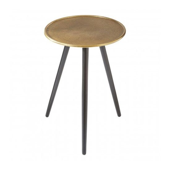 Hallo Aluminium Top Side Table In Gold With Wood Legs