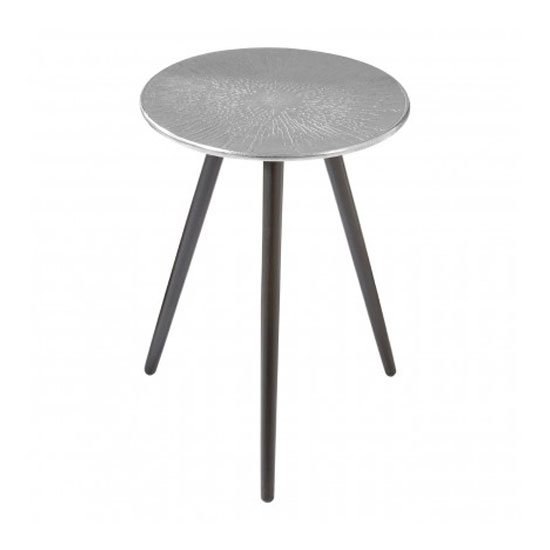 Hallo Aluminium Top Side Table In Silver With Wood Legs