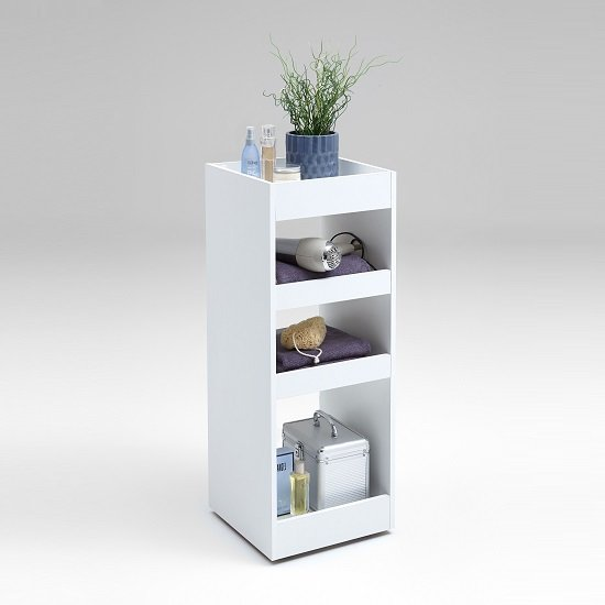 Candy Bathroom Storage Trolley In White With Shelves_2