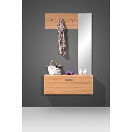 Wall mounted beech hallway stand shoe storage cabinet 8817 f Wall mount entryway organizer mirror hallway coat rack key cabinet
