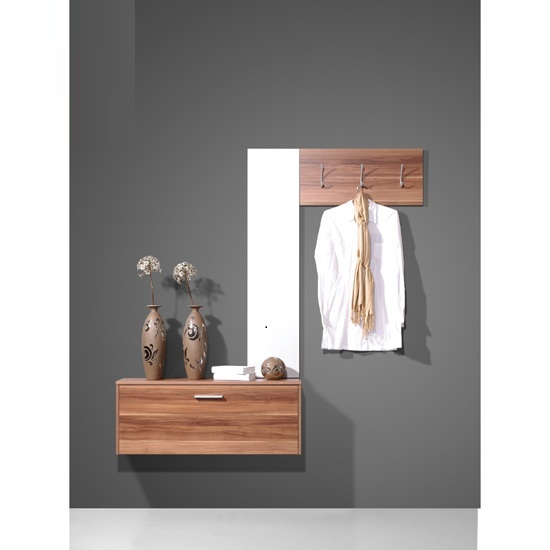 Wall Mounted Walnut Hallway Stand Shoe Storage Cabinet