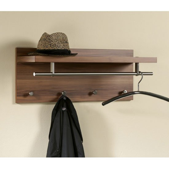 pablo white wall mounted coat rack in high gloss with shelf. Black Bedroom Furniture Sets. Home Design Ideas