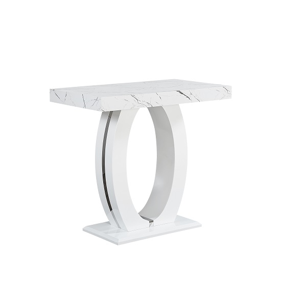 Halo Bar Table In Shiny Marble Finish And High Gloss White