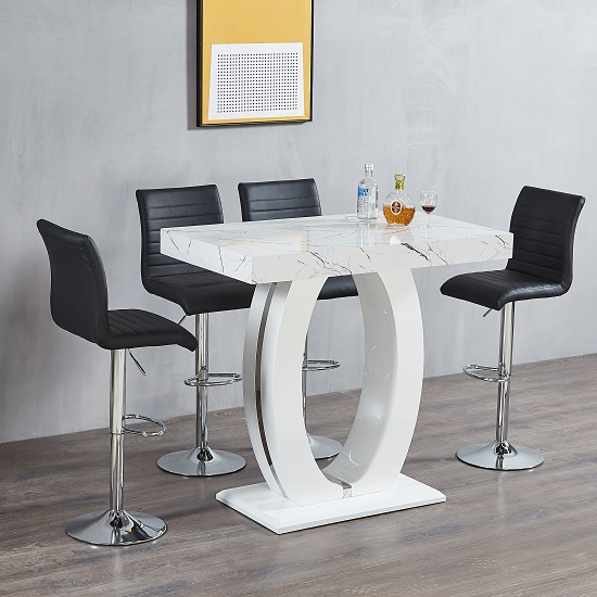 Halo Bar Table In Shiny Marble Finish 4 Ripple Black Bar Stools