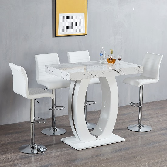 Halo Bar Table In Shiny Marble Finish 4 Ripple White Bar Stools
