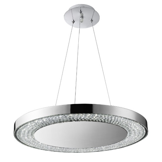 Halo LED Pendant Light In Chrome With Clear Crystal Decoration