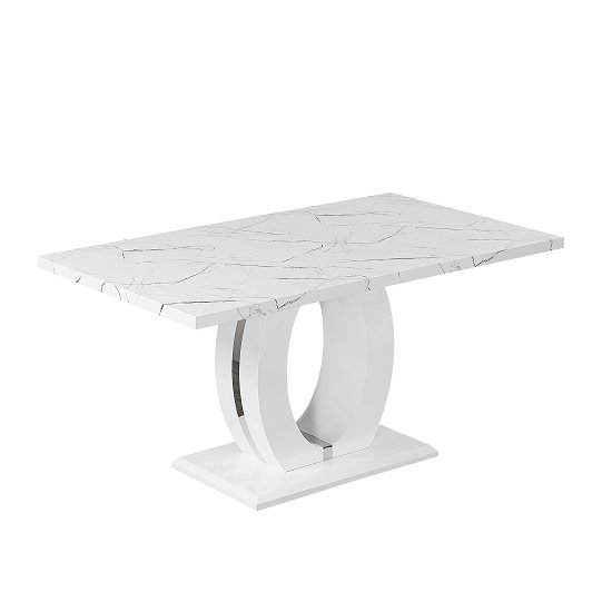 Halo Dining Table In Shiny Marble Finish And High Gloss White