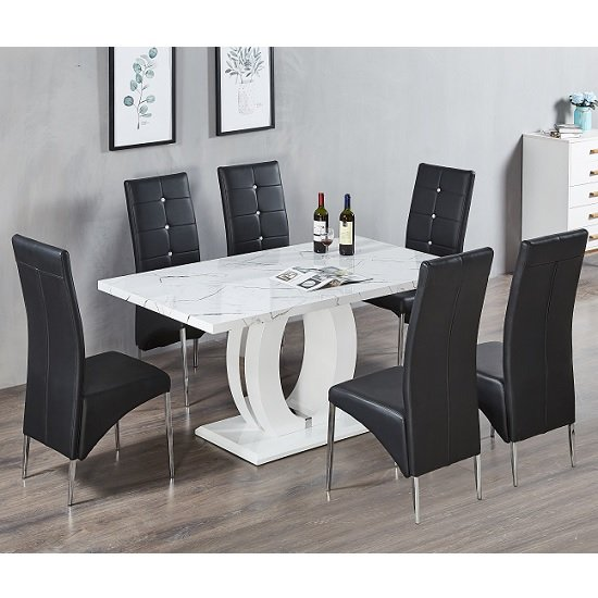 Groovy Halo Dining Table In Shiny Marble Finish And 6 Vesta Black Chairs Pabps2019 Chair Design Images Pabps2019Com