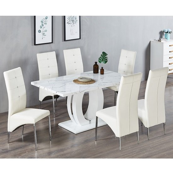 Halo Dining Table In Shiny Marble Finish 6 Vesta White Chairs