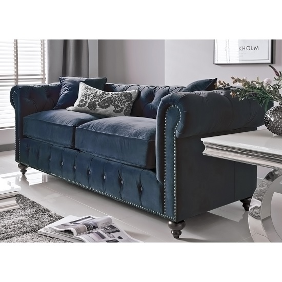 Image of Halston 2 Seater Sofa In Blue Midnight Velvet With Wooden Legs