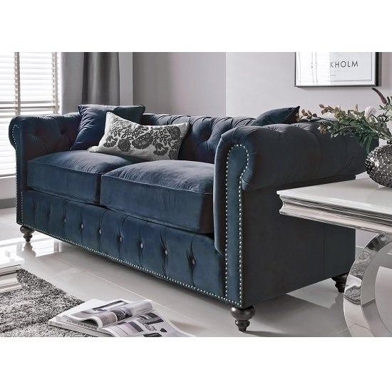 Image of Halston 3 Seater Sofa In Blue Midnight Velvet With Wooden Legs