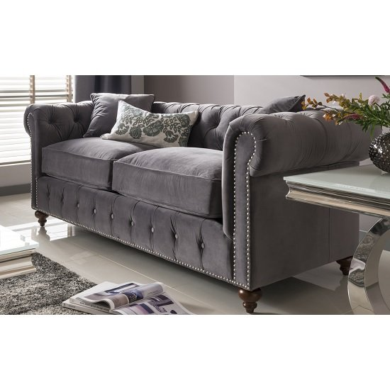 Image of Halston 3 Seater Sofa In Navy Velvet Misty With Wooden Legs