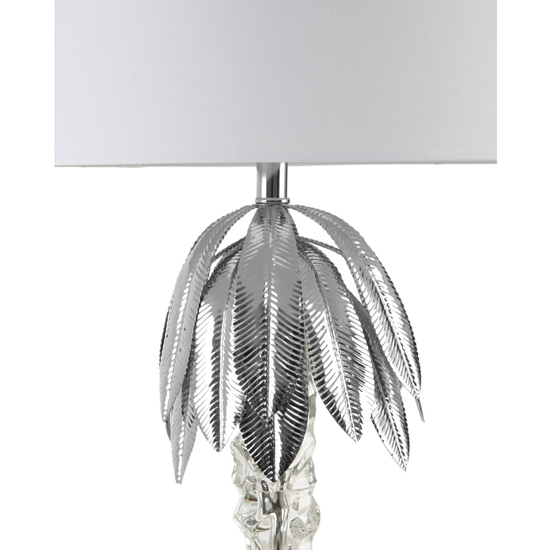 Halta White Fabric Shade Table Lamp With Aluminium Base_2