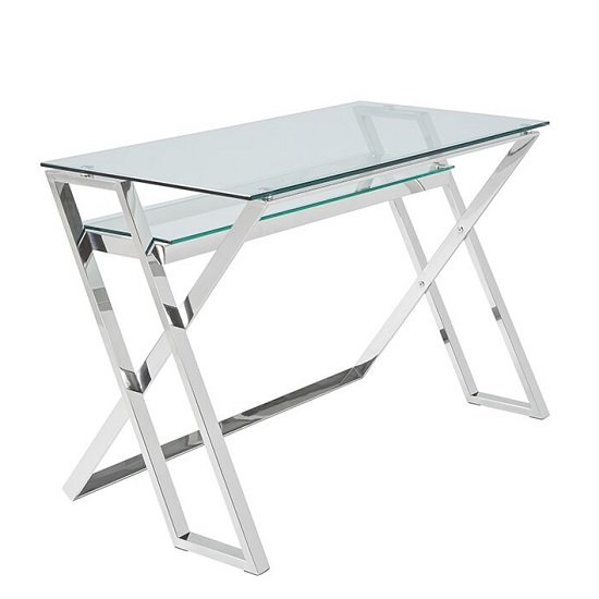 Halton Glass Computer Desk In Clear With Silver Base