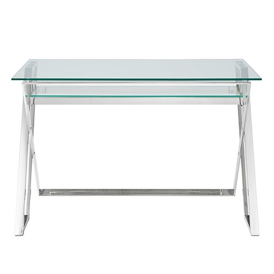 Halton Glass Computer Desk In Clear With Silver Base_3