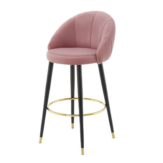 Hambree Highback Bar Stool In Blush Pink With Black Legs
