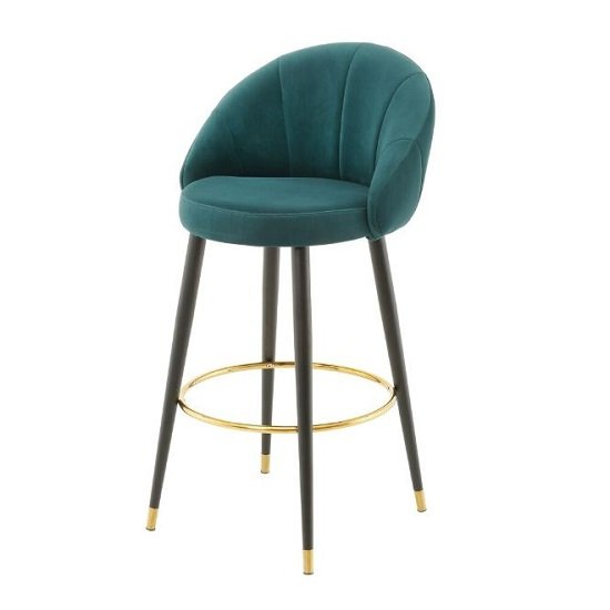 Product photograph showing Hambree Highback Bar Stool In Teal Finish With Black Legs