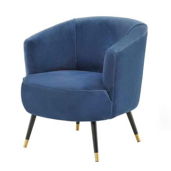 Hambree Soft Velour Tub Chair In Navy With Black Legs
