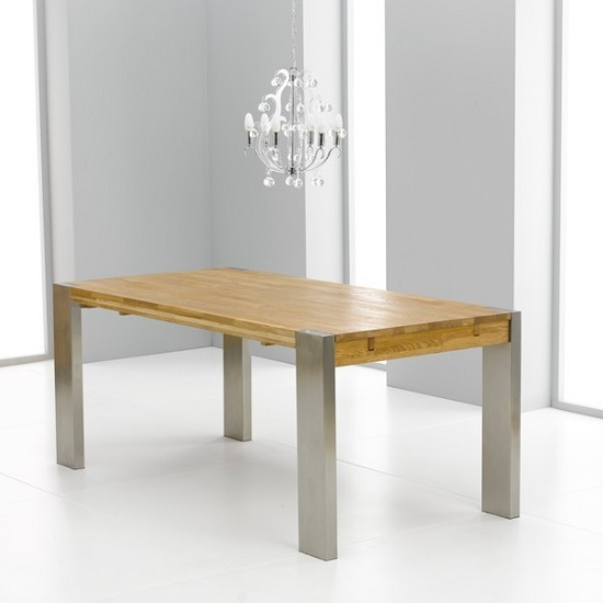 Hamburg Wooden Extendable Dining Table In Oak With Metal Base