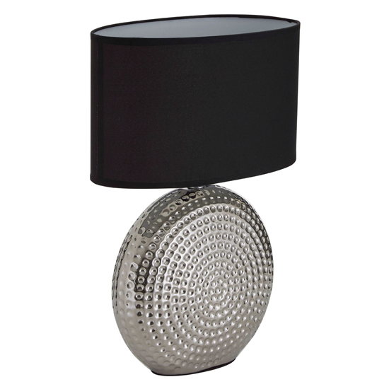 Hamero Black Fabric Shade Table Lamp With Chrome Base_2