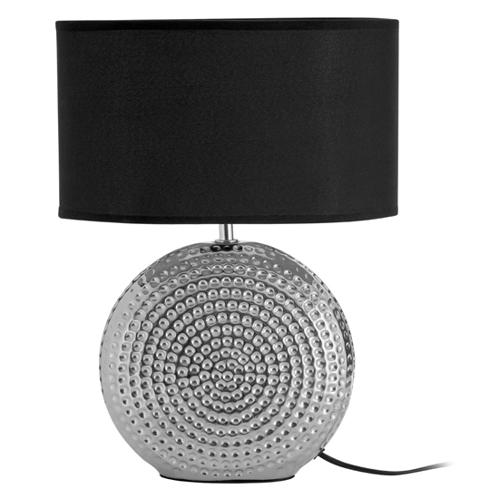 Hamero Black Fabric Shade Table Lamp With Chrome Base