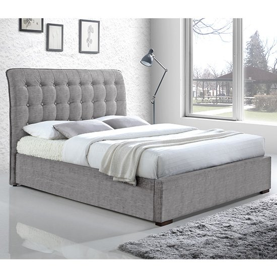 Hamilton Fabric Upholstered Double Bed In Light Grey