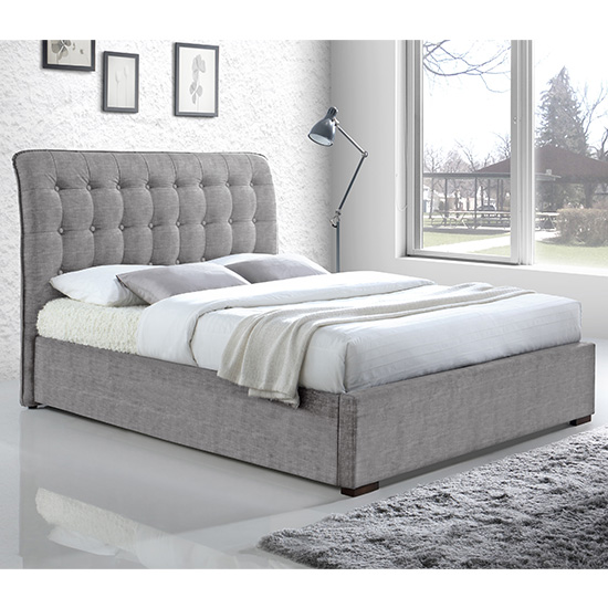 Product photograph showing Hamilton Fabric Upholstered King Size Bed In Light Grey