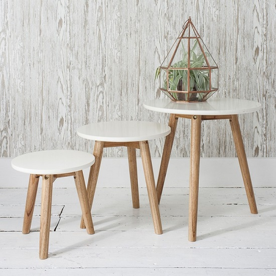 Hamilton Nest of 3 Tables Semi Gloss White With Mindy Ash Legs