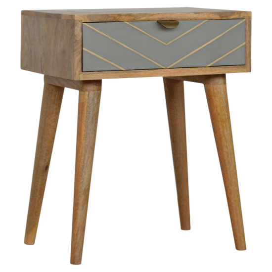 Hamish Wooden Sleek Cement Bedside Cabinet In Oak Ish 1 Drawer