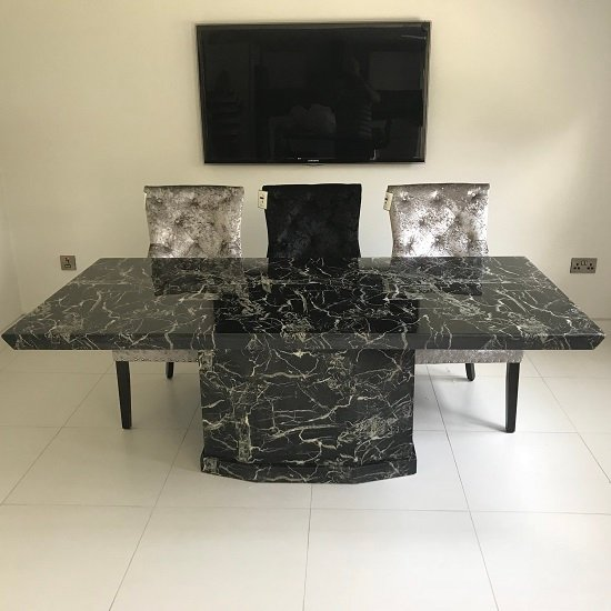 Hamlet Marble Dining Table Rectangular In Black 30604