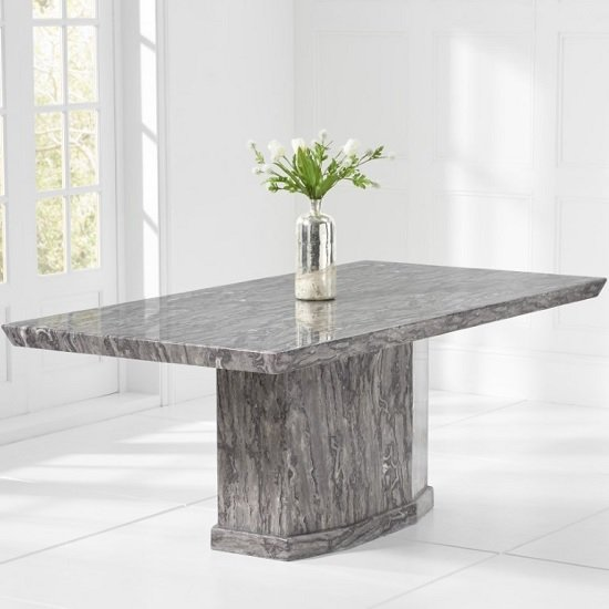 Hamlet Small High Gloss Marble Dining Table In Grey