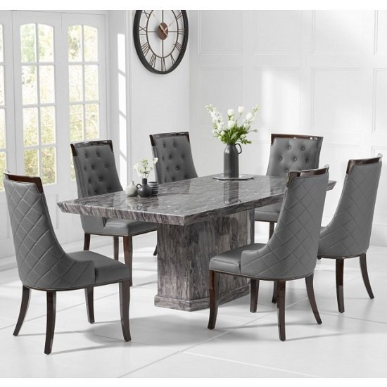 Hamlet Marble Small Dining Table In Grey With Four Tulip Chairs