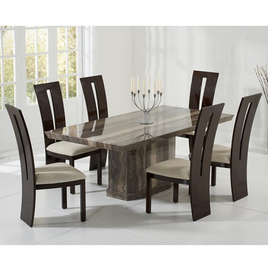 Hamlet Marble Dining Table In Brown And 6 Ophelia Cream Chairs