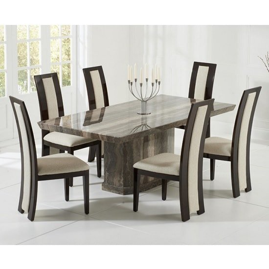Hamlet Marble Dining Table In Brown With 8 Allie Cream Chairs