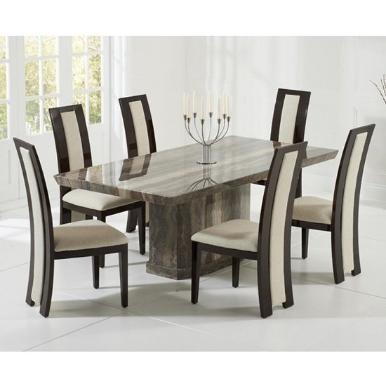 Hamlet Marble Dining Table In Brown With 6 Allie Cream Chairs_1