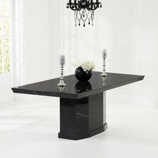 Hamlet Marble Dining Table In Black With 8 Allie Grey Chairs_2