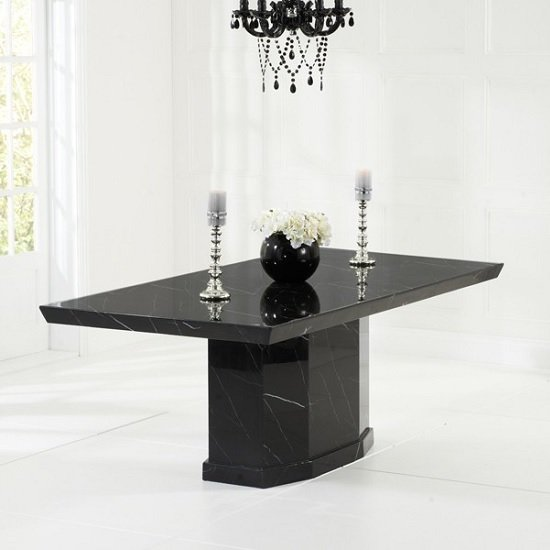Hamlet Marble Dining Table In Black And 6 Ophelia Grey Chairs_2