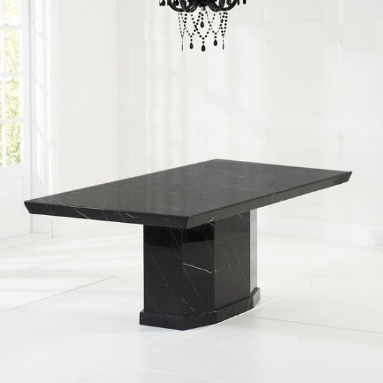 Hamlet Marble Dining Table In Black With 8 Allie Grey Chairs_4