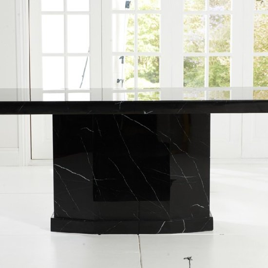 Hamlet Marble Dining Table In Black And 6 Ophelia Grey Chairs_4
