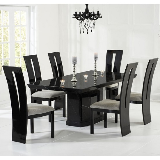 Hamlet marble dining table in black and 6 ophelia grey for Best dining tables uk