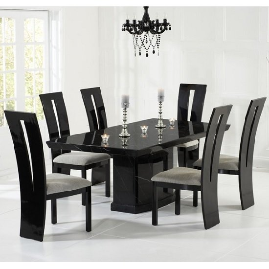 Black Dining Room Table And Chairs: Hamlet Marble Dining Table In Black And 6 Ophelia Grey