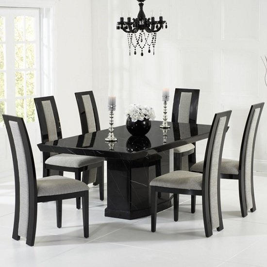 Hamlet Marble Dining Table In Black With 6 Allie Grey