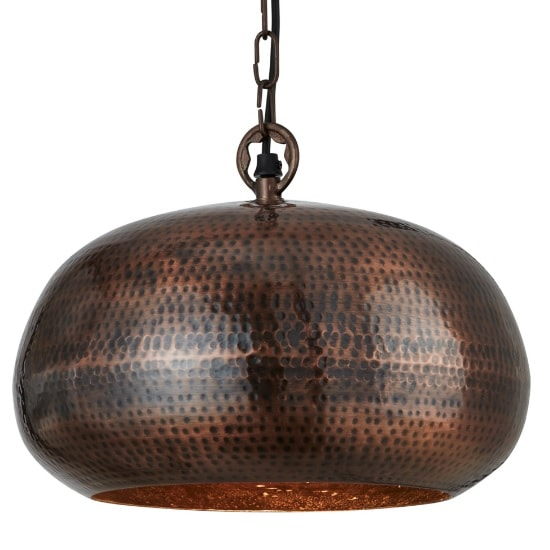 Hammered Elipse 40cm Pendant Light In Antique Bronze