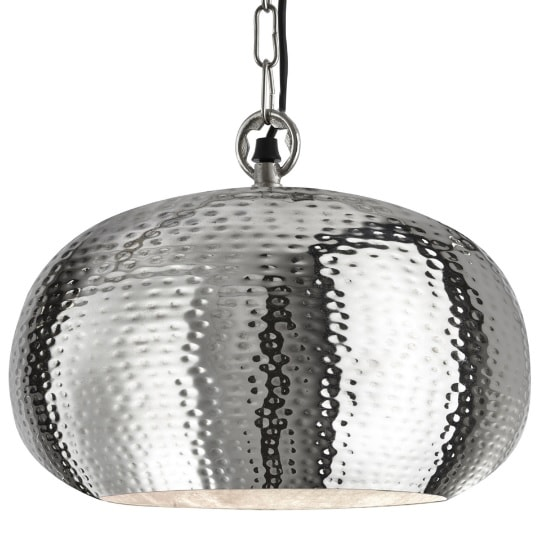 Hammered Elipse 40cm Pendant Light In Shiny Nickel