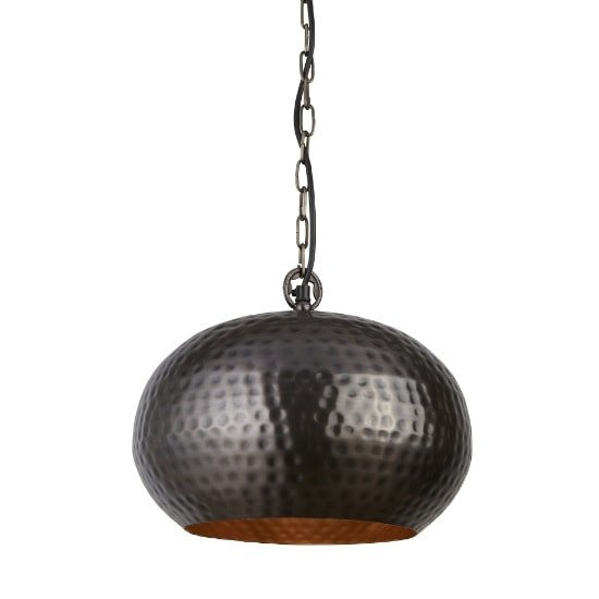 Hammered Elipse 32cm Pendant Light In Antique Bronze