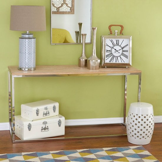 Hampro Natural Wooden Console Table With Silver Frame