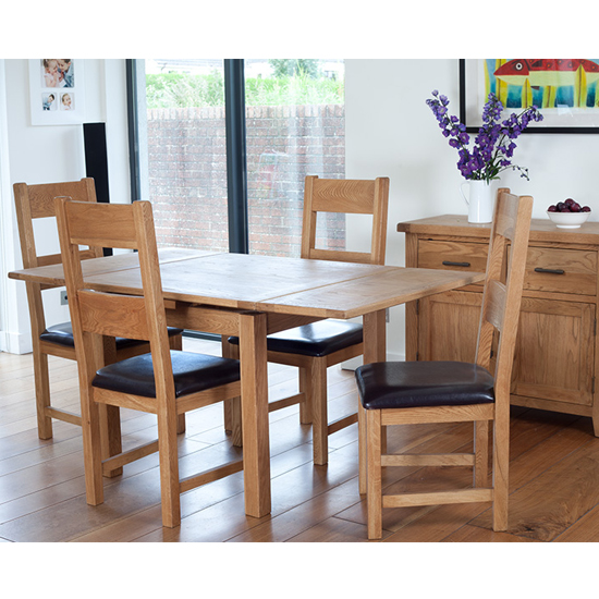 Hampshire Draw Leaf Dining Set With 4 Chairs