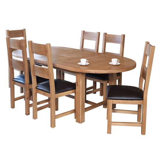 View Hampshire extending oval dining set with 6 chairs