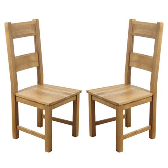 Hampshire Oak Dining Chairs With Solid Seat In A Pair