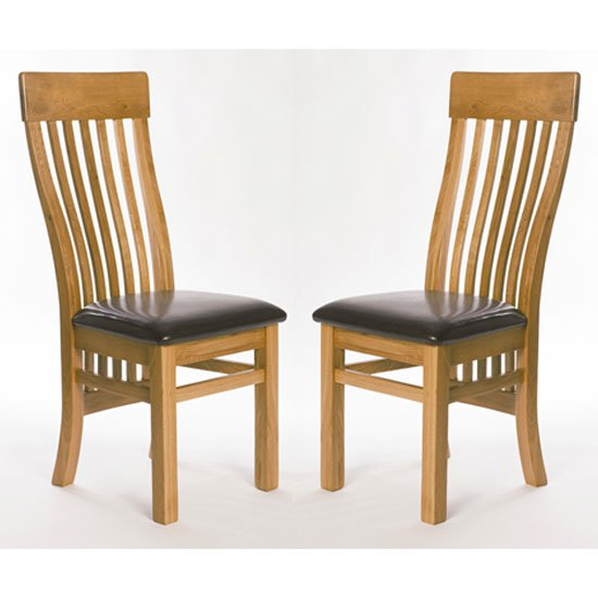 Hampshire Oak Slat Back Dining Chairs In A Pair